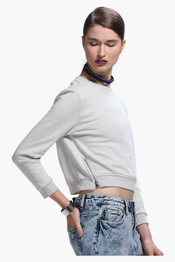 Lee Cooper Distressed Crop Sweatshirt with Round Neck and Zippered Detailing
