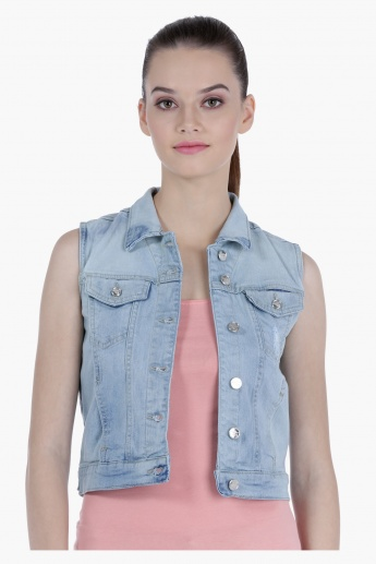Lee Cooper Sleeveless Distressed Denim Trucker Jacket