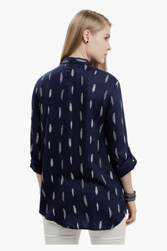 Lee Cooper Printed Shirt with Roll Up Sleeves