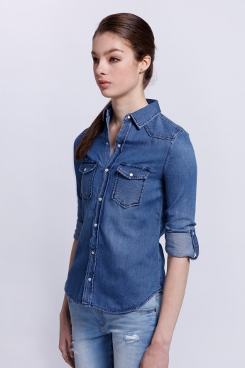 Lee Cooper Denim Shirt with Roll Up sleeves