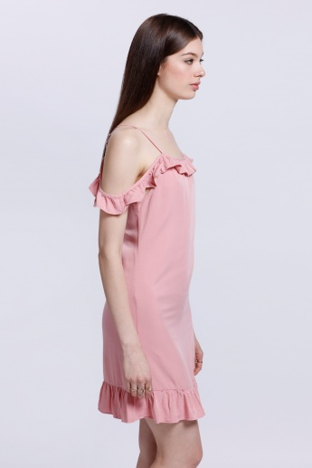 Off-Shoulder Dress with Ruffled Hem