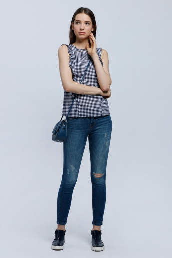 Chequered Sleeveless Frill Top