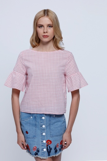Lee Cooper Chequered Print Top with Ruffles