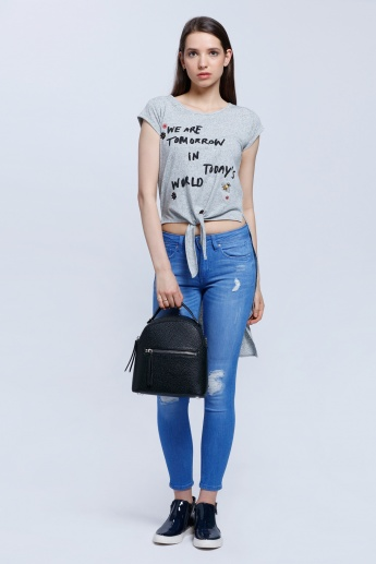Lee Cooper Printed T-Shirt with Front Knot and High-Low Hem