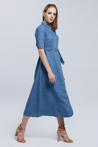 Lee Cooper 3/4 Sleeves Midi Dress with Button Placket