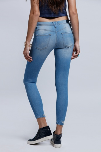 Eco Friendly Lee Cooper Distressed Full Length Jeans with Button Closure