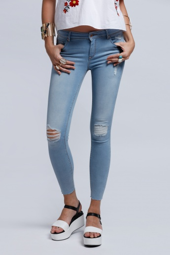Eco Friendly Lee Cooper Distressed Jeans with Button Closure