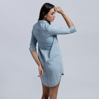 Lee Cooper Long Sleeves Shirt Dress with Complete Placket