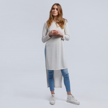 Lee Cooper High Low Hem Tunic with Round Neck and Long Sleeves
