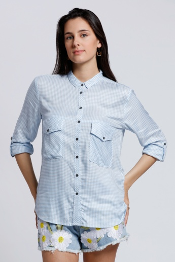 Lee Cooper Chequered Shirt with Roll Up Sleeves and Flap Pockets