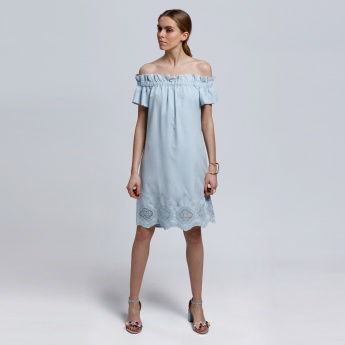 Embroidered Off Shoulder Dress with Cutwork