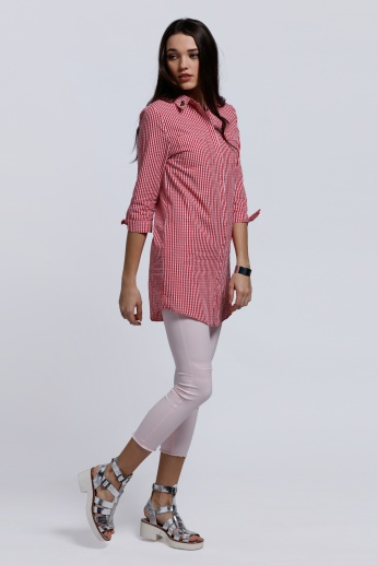 Lee Cooper Striped Long Shirt with 3/4 Sleeves