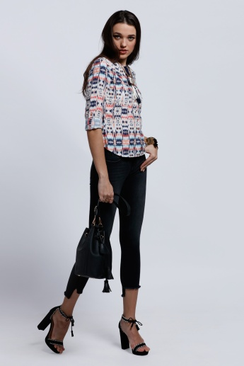 Lee Cooper Printed Top with Roll Up Sleeves and Tassels