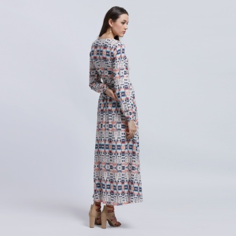 Lee Cooper Printed Maxi Dress with Long Sleeves and Tie Up