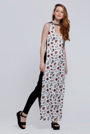 Lee Cooper Printed Sleeveless Tunic with Side Slits