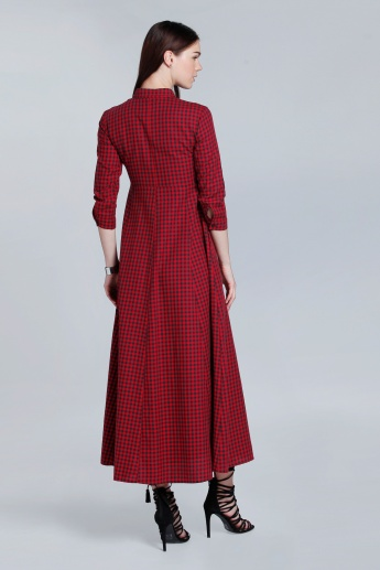 Chequered Flare Dress with Complete Placket and 3/4 Sleeves