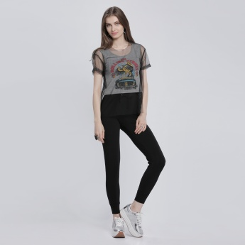 Lee Cooper Printed T-Shirt with Mesh Sleeves