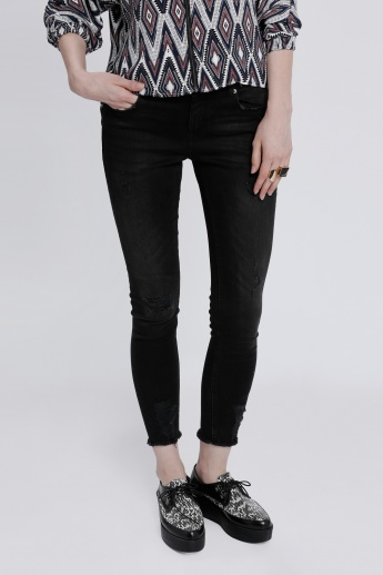 Full Length Jeans with Fringe Hems