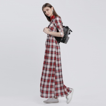 Lee Cooper Chequered Dress with Button Placket