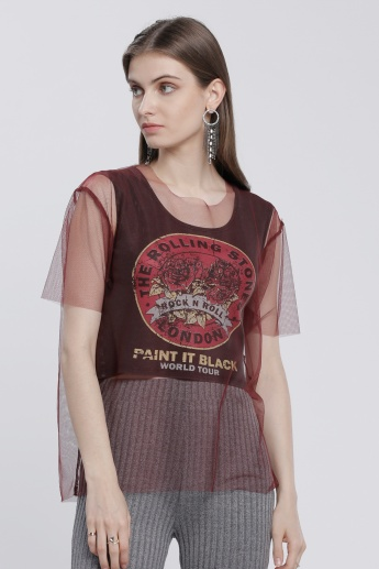 Lee Cooper Printed Round Neck T-Shirt with Mesh Overlap