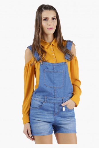 Denim Dungaree Shorts in Skinny Fit