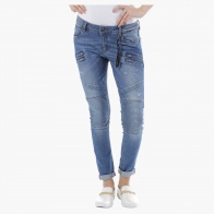 Low Rise Biker Denims in Straight Fit