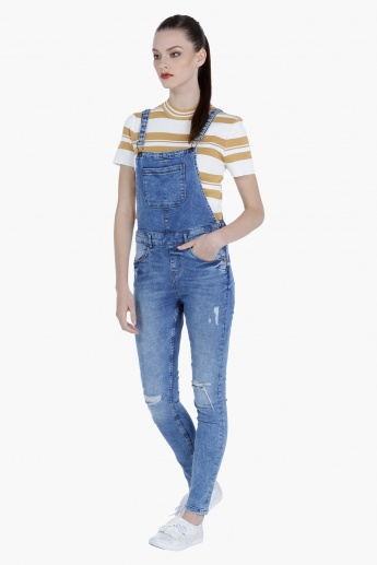 Denim Dungaree with Distressed Finish