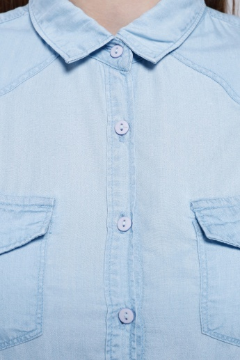 Denim Shirt with Long Sleeves and Flap Pockets