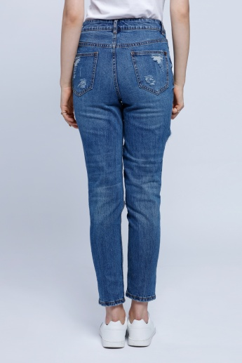 Distress Full Length Jeans with Button Closure