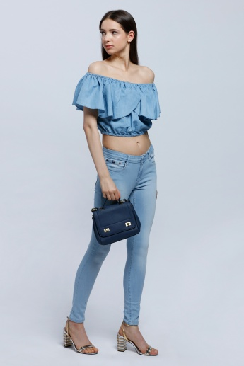 Off-Shoulder Denim Crop Top
