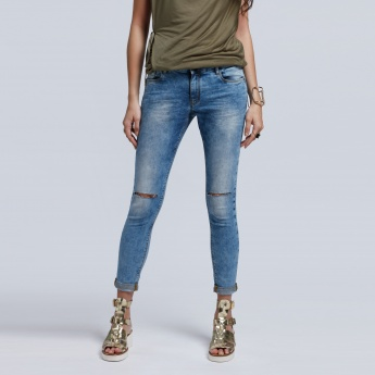 Eco Friendly Distressed Full Length Jeans with Button Closure