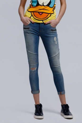 Full Length Distressed Jeans with Button Closure