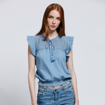Round Neck Denim Top with Cap Sleeves