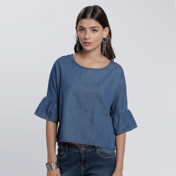 Round Neck Denim Top with 3/4 Bell Sleeves