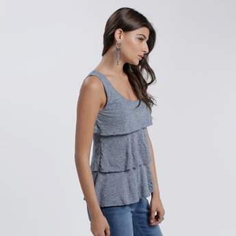 Sleeveless Layered Top with Scoop Neck