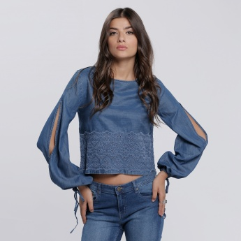Lace Detail Round Neck Top with Slited Sleeves