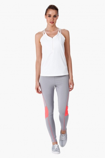 Cut and Sew Leggings with Contrast Mesh Inserts in Regular Fit