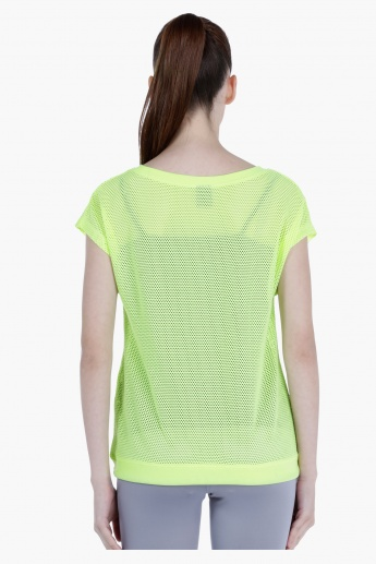 Printed Mesh T-Shirt with Short Sleeves and Round Neck