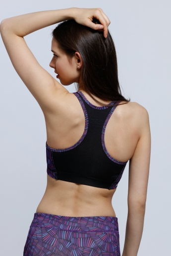 Printed Sports Bra with Racer Back