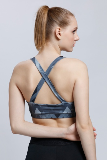 Regenerated Kappa Printed Sports Bra with Racer Back