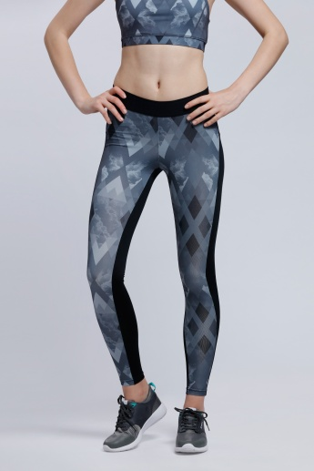 Regenerated Printed Full Length Leggings with Elasticised Waistband