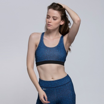 Printed Sleeveless Sports Bra with Racer Back