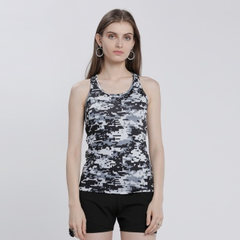 Pixel Print Racerback T-Shirt with Round Neck