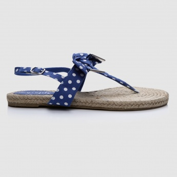 Polka Dots Buckle Strap Flat Sandals