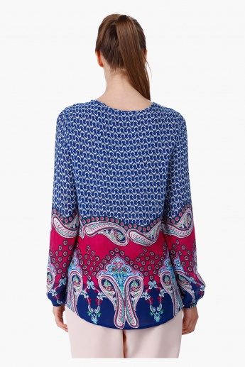 Paisley Print Top with Long Sleeves