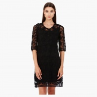Lace Tunic Dress with Scoop Neck in Regular Fit