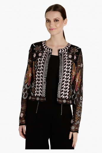Embroidered Long Sleeves Jacket with Open Front