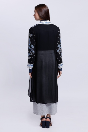 Printed Shrug with Long Sleeves and Tie-Up