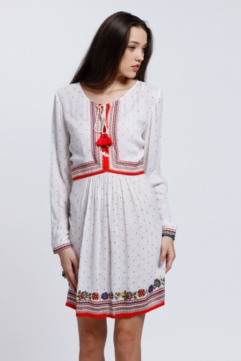 Printed Long Sleeves Dress with Round Neckline
