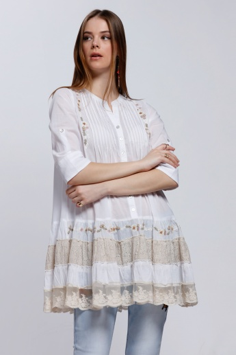 Embroidered Top with Plated Front and Frilled Detail